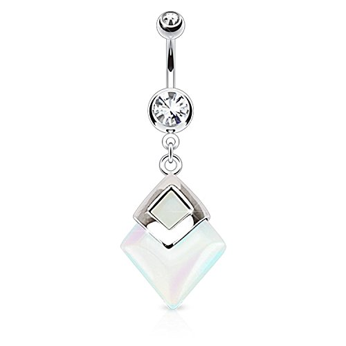 Covet Jewelry Opalite Diamond Shaped Semi Precious Stone Mounted 316L Surgical Steel Navel Ring