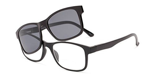Readers.com | The Peace Polarized Magnetic Bifocal Reading Sunglasses +1.50 Black with Smoke Retro Square Men's & Women's Full Frame