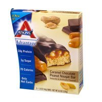 (Advantage Bar Caramel Chocolate Peanut Nougat, Caramel Chocolate Peanut Nougat 5 Pkts (Pack of 4) by Atkins)