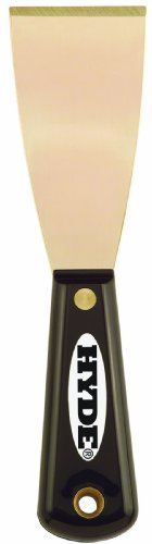 Hyde Tools 02320 2-Inch Brass Stiff Putty Knife, Black and Silver ()