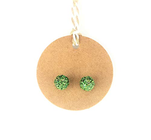 Moss Green Hand Sculpted Glitter Sphere Stud Earrings, Upcycled Refashion Earrings- 3/8 inches Handmade