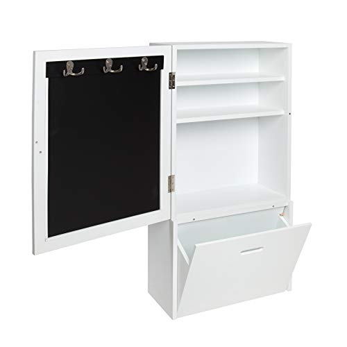 - Kate and Laurel Stowe Wall Storage Cabinet with Magnetic Chalkboard Front and Large Pull-Out Drawer, 18 x 36 Inches, White