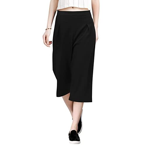 Allegra K Women Concealed Zipper Side Loose Capris Culottes free shipping