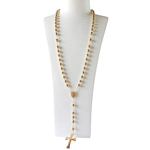 J.Shine Men Gold Tone 8mm Beads Stainless Steel Catholic Rosary Necklace Crucifix Pendant & Chain 30