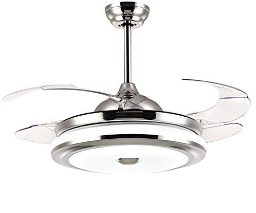 Modern Ceiling Fan With Light Retractable 4 Blade Ceiling Fan Chandelier with Remote Control Dimmable Indoor Fan Light - 42 Ceiling Modern Fan Inch Fan