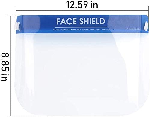 Elastic Band /& Comfort Sponge 5 Packs Face Shield Protect Eyes and Face with Protective Clear Film