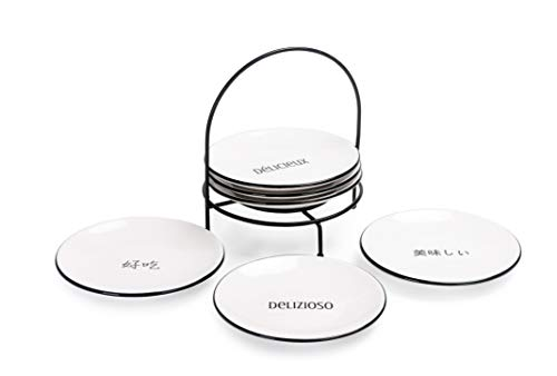 (Bico Delicious Appeal 6 inches Ceramic Appetizer Plate with Rack, Set of 7, for Salad, Appetizer, Snacks, Plates Microwave & Dishwasher Safe, House Warming Birthday Anniversary Gift)