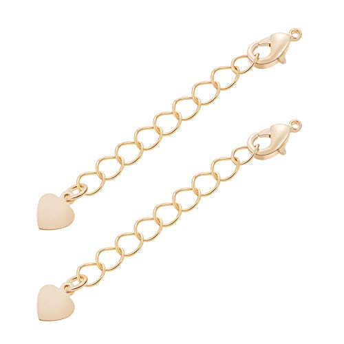 (BENECREAT 10 PCS 18K Gold Plated Extender Chains with Lobster Clasps for Bracelet Necklace Jewellery Making)