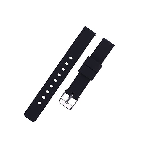 Xuexy 14mm Pebble Time Round Quick Release Pins Rubber Silicone Watch Band Strap Replacement Bracelet Light Weight Comfortable Simple Water Proof Sport Band,Black