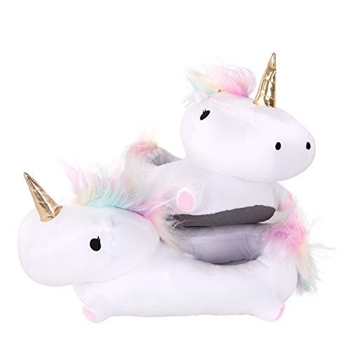 (SMOKO Light Up Unicorn Slippers, Kawaii Kid's Feetwarmers, Squishy Plush with Batteries)