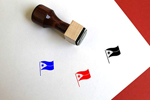 """Philippines Flag Wooden Rubber Stamp (1"""" x 1"""")"""