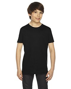 American Apparel 2201W Youth Fine Jersey T-Shirt, Black, 12