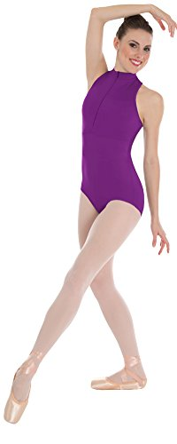 Womens Power Mesh Zip Front Leotard (Small, Plum) (Body Wrappers Tank Leotard)