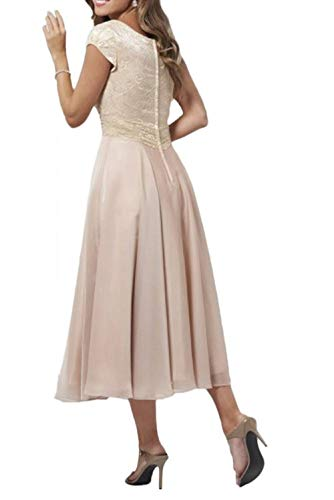 Lang Formalekleider Abendkleider Kurzarm Rosa Chiffon Spitze Marie Brautmutterkleider La Linie Einfach 2 A Braut qRwFxgz