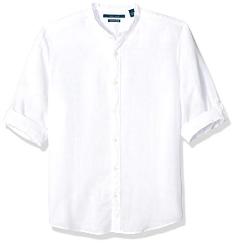 - Perry Ellis Men's Solid Linen Cotton Rolled Sleeve Banded Collar Shirt, Bright White-4ESW7067, Large