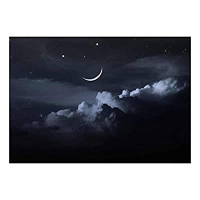 A Bed of Clouds Beneath a Crescent Moon Wall Mural, Classic Design, Unbelievable Technique