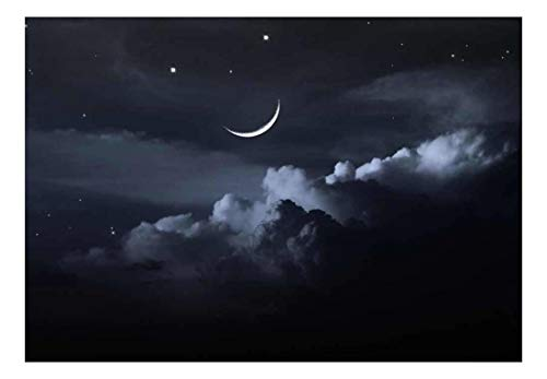 A Bed of Clouds Beneath a Crescent Moon Wall Mural