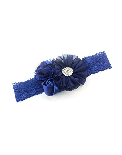 Baby Girls Lace Headband with Chiffon Flower Satin Rose Ruffled Kids Headwear JA57 (1-Navy Blue) (Satin Flower Headband)