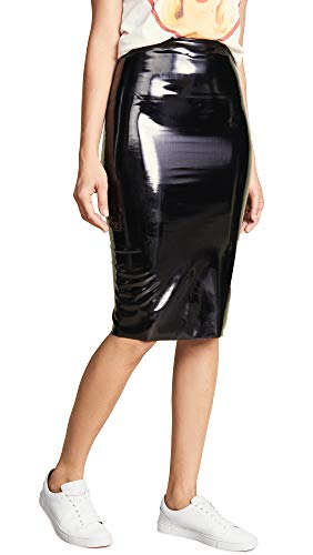 commando Women's Perfect Patent Midi Skirt, Black, Large (Leather Skirt Patent)