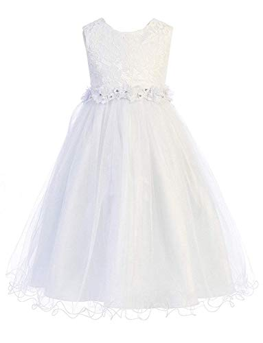 (Big Girls' White First Communion Pageant Flower Girl Venetian Lace Illusion Dress 468 Size)
