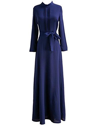 GlorySunshine Women's Vintage Bow Belt Long Sleeve Chiffon Elegant Maxi Dress Blue S