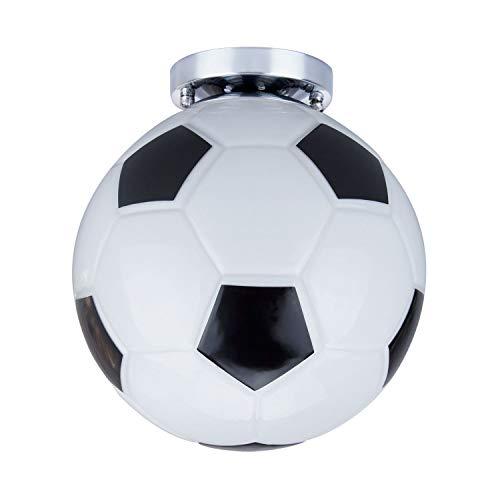 Vintage Ceiling Light - Motent Modern Soccer Glass Pendant Lamp Minimalist American Personalized Semi Flush Mounted Football Island Lighting Fixture 9.8