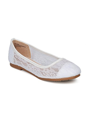 Alrisco Lace Mesh Capped Toe Ballet Flat HF24 - White Mix Media (Size: Toddler 10) -