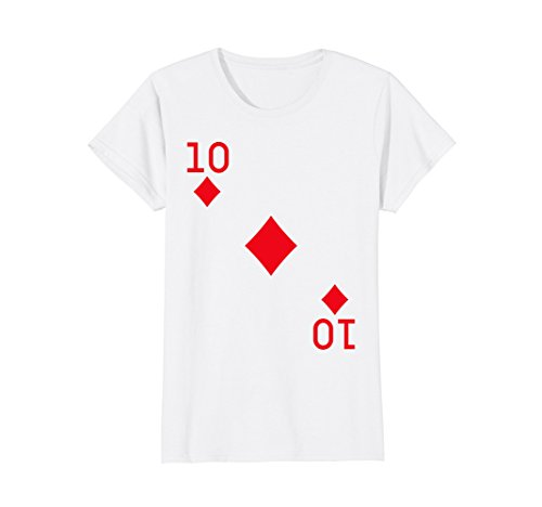 Womens Ten of Diamonds Costume T-Shirt Halloween Deck of Cards Large -