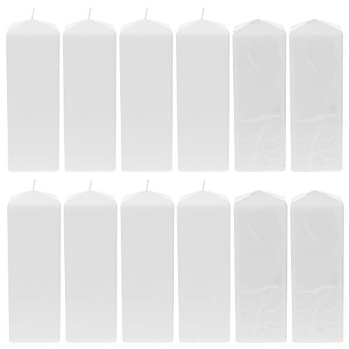 Mega Candles 12 pcs Unscented White Dome Top Square Pillar Candle | Economical One Time Use Event Wax Candles 3