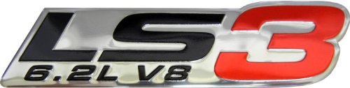 LS3 6.2L V8 Red Engine Emblem Badge Nameplate Highly Polished Aluminum Chrome Silver for GM General Motors Performance Chevy Chevrolet Corvette C6 ZR1 Camaro SS RS Pontiac G8 GXP Holden Vauxhall (General Motors Chevy)