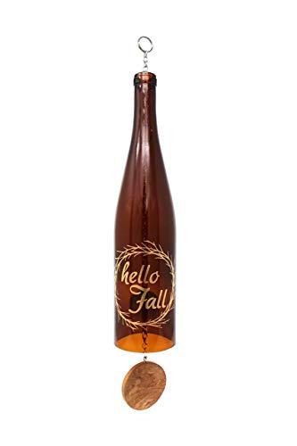 Hello Fall Wine Bottle Wind Chime