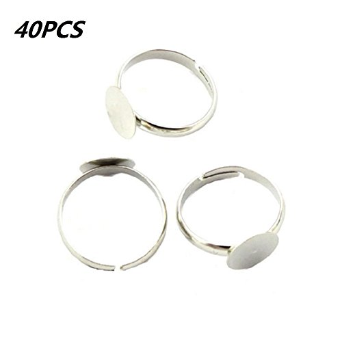 Nickel-free white K Bezel Cup Ring Settings Adjustable,Sold Per Pack of 40 (20*15mm)