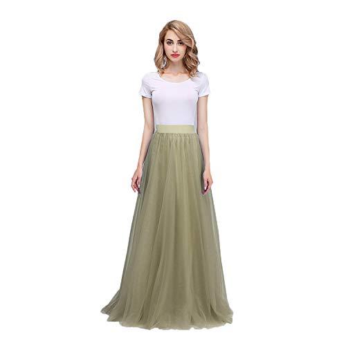 Honey Qiao Women's Maxi High Waist Skirts Mint Tulle Holiday Formal - Pencil Honey