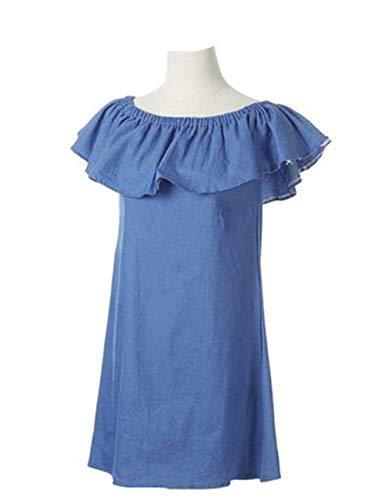 OQC Women's Blue Jean Dress Off Shoulder Ruffle Short Sleeve Loose Denim Mini Dress with Pocket