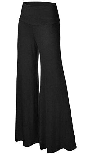 HM Womens Comfy Wide Leg Palazzo Pants High Waist Lounge Pant Yoga Black M