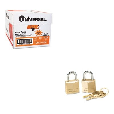 KITMLK120TUNV21200 - Value Kit - Master Lock 120-T Twin Brass Three Pin Tumbler Locks (MLK120T) and Universal Copy Paper (UNV21200)