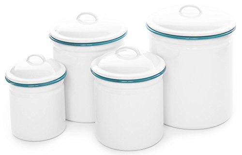 (Crow Canyon 4 Piece Canister Set (Solid White with Turquoise Trim))