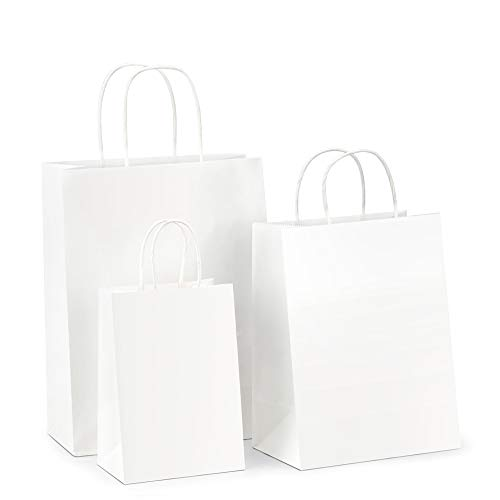 BagDream Kraft Paper Bags 5x3x8& 8x4.25x10& 10x5x13 25 Pcs Each, White Gift Bags, Kraft Bags, Paper Shopping Bags with Handles, Craft Bags, Merchandise Bags, Retail Bags, 100% Recyclable Paper (Gift Bag Boutique)