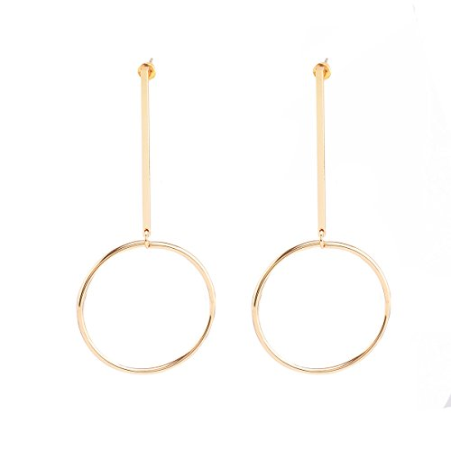 CHUYUN Cool Simple Big Circle Round Drop Dangle Hoop Earring Charm Gift (Circle Hoop Dangle)