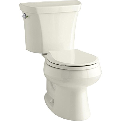 KOHLER K-3987-96 Wellworth Two-Piece Round-Front Dual-Flush Toilet with Class Five Flush System and Left-Hand Trip Lever, Biscuit Biscuit Dual Flush