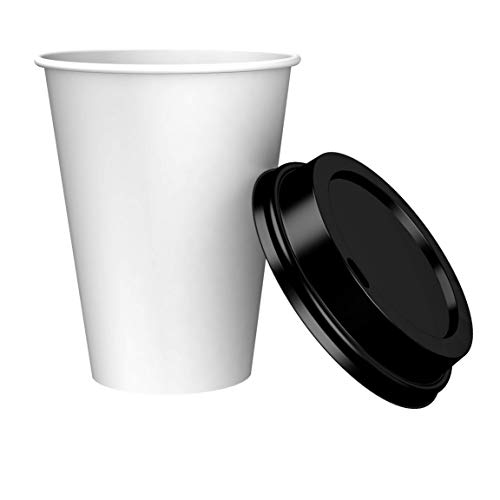 Amazon Brand - Solimo 12oz Paper Hot Cup with Lid, 150 Count -