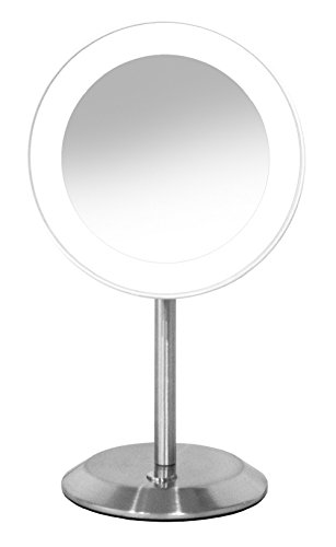 Conair Satin (Conair Round Shaped LED Single-Sided Lighted Makeup Mirror; 8x magnification; Satin Chrome Finish)