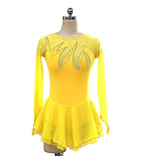 Figure Skating Dress,Woman Girl Yellow Spandex High Elastic Competition Skating Dress Handmade Gemstone Rhinestone Long Sleeve Skating Dress,Yellow-Child12