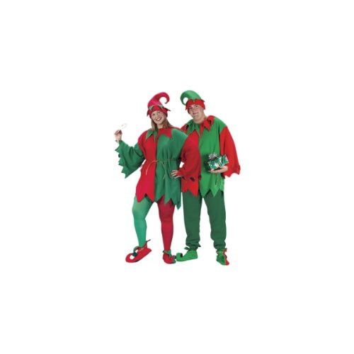 Elf Suit For Adults (Fun World Elf Set Costume Chest Size 48-53, Red/Green,)