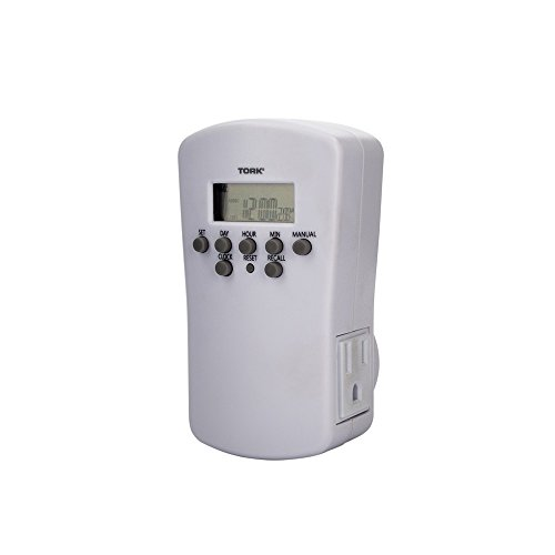 NSi Industries TORK 455E Indoor 15-Amp 24-Hour, 7-Day Digital Plug-In Air Conditioner and Appliance Timer - Compatible with Incandescent/Compact Fluorescent/LED - Features 2 Outlet Receptacles - Ideal for Halloween Decorations
