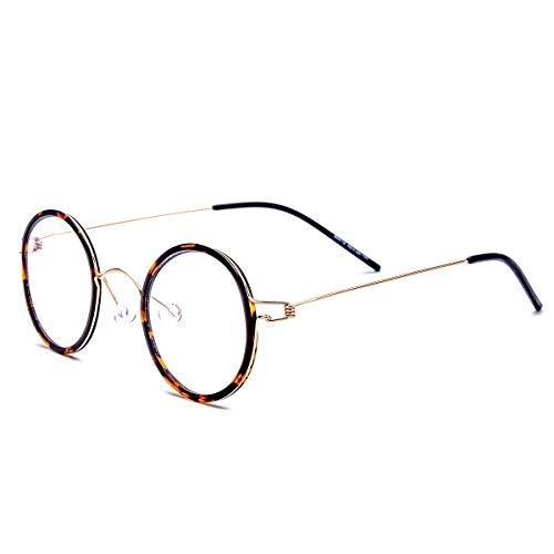 FONEX Handmade Myopia Optical Glasses Frame Screwless Eyewear 98613 (leopard, - Screwless Eyewear
