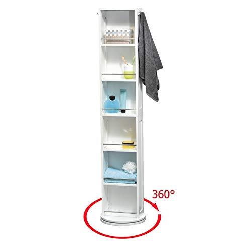 EVIDECO 9906100 Swivel Storage Cabinet Organizer Tower White Free standing linen tower - Swivel Bathroom Mirrors Cabinets