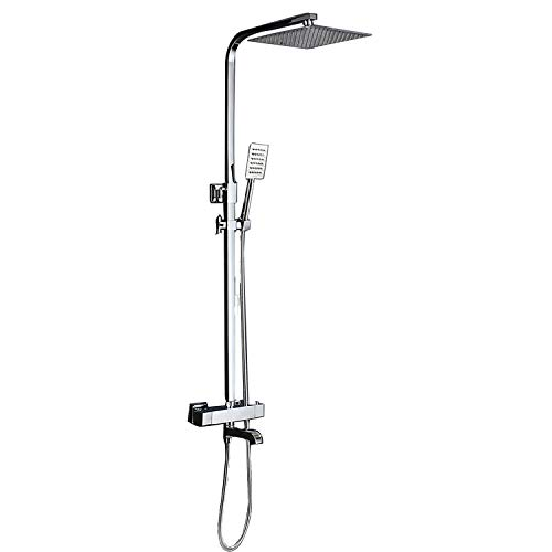 (Initial Copper Thermostatic Shower System - 2 Seconds Fast Constant Temperature, Ultra-Thin Wall-Mounted Square Top Spray/Stainless Steel Hand Shower (Water Saving 45% Or More))