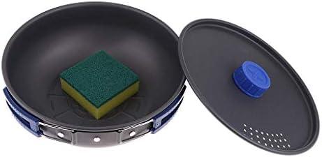 ZLJ Batterie de Cuisine extérieure antiadhésive avec éponge pour Le Camping, la randonnée, Le Pique-Nique