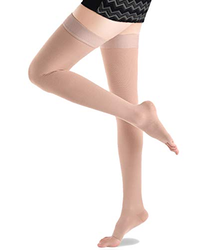 Ailaka Open Toe Thigh High 20-30 mmHg Compression Stockings for Women and Men, Firm Support Graduated Varicose Veins Socks, Travel, Casual-Formal Hosiery (Beige, XX-Large)